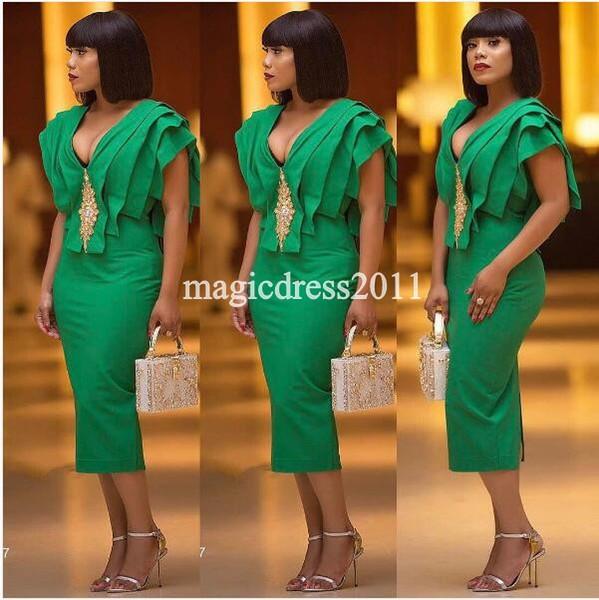 Chique 2017 Vestidos de Cocktail Verde Bainha Strapless Ruffled Tornozelo-Comprimento Prom Formal Vestidos Em Camadas Vestido para Árabe Dubai Nigéria Noite Desgaste