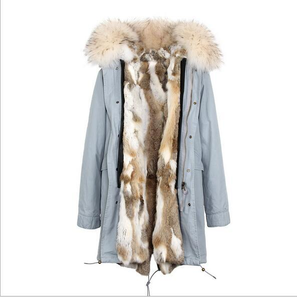 Jazzevar Brand Women snow coats white Raccoon fur collar grey white rabbit fur liner grey blue long parka winter jackets
