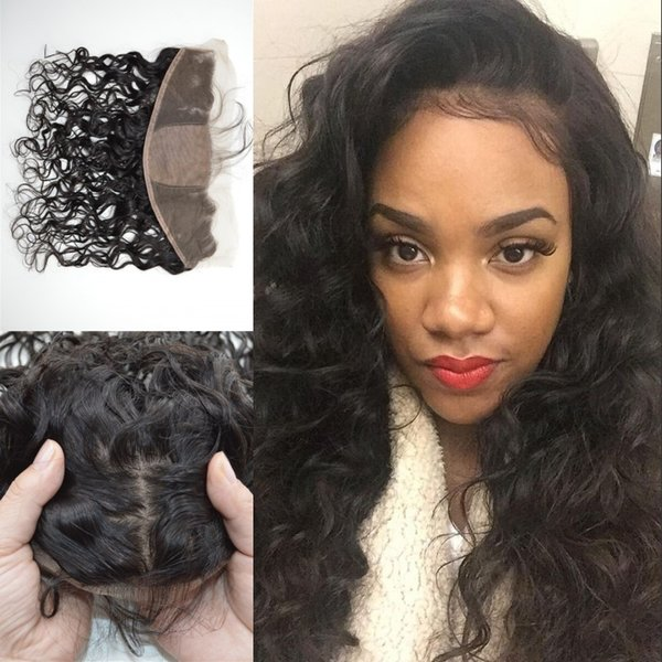 13x4 Brazilian Human Hair Silk Base Frontal Closure With Baby Hair Virgin Water Wave Full Lace Frontal LaurieJ Hair
