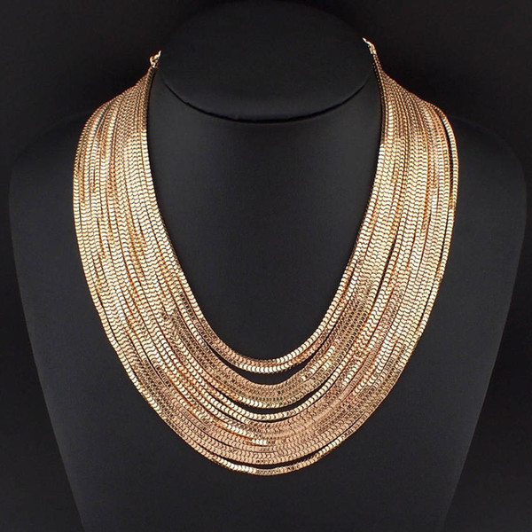 Women Multi layers Chains Necklaces Fashion Accessories Female Choker Necklace Maxi Statement Jewelry Gold&Silver Color