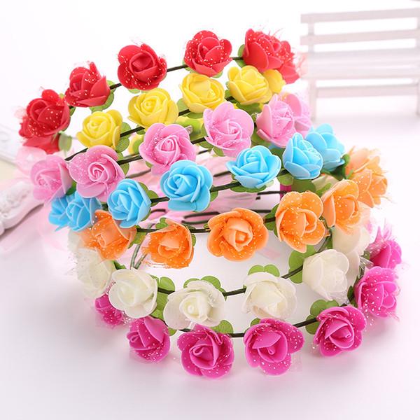 Süße Heiße Verkauf Blumenstirnband Schöne Rose Blumenstirnbänder Für Mädchen Böhmischen Stil Kranz Hochzeit Blumengirlande Haarschmuck