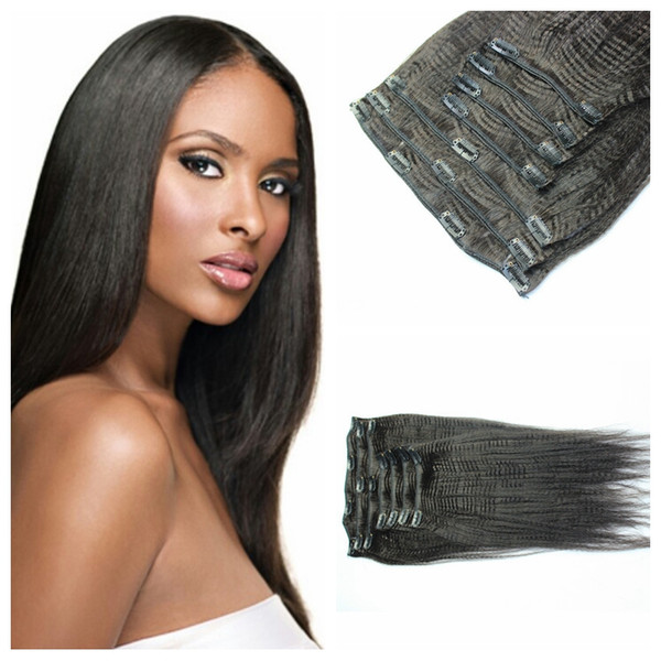 100g Light Yaki Clip In Hair Extensions 10 30inch Unprocessed