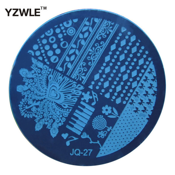 Wholesale- YZWLE 1 Pcs Stamping Nail Art Image Plate, 5.6cm Stainless Steel Nail Stamping Plates Template Manicure Stencil Tools (JQ-27)