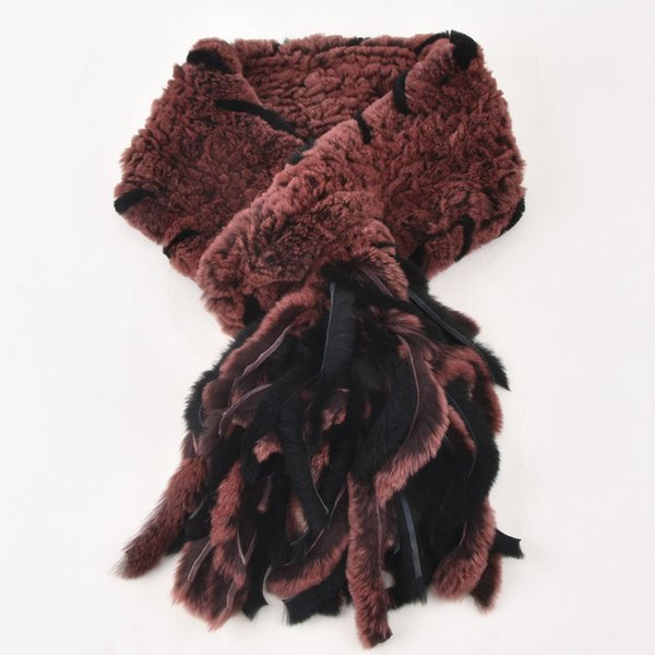 New style genuine real fur scarf grid knitted rex rabbit fur scarf Autumn winter Neck warm stole fur Shrug Tassels