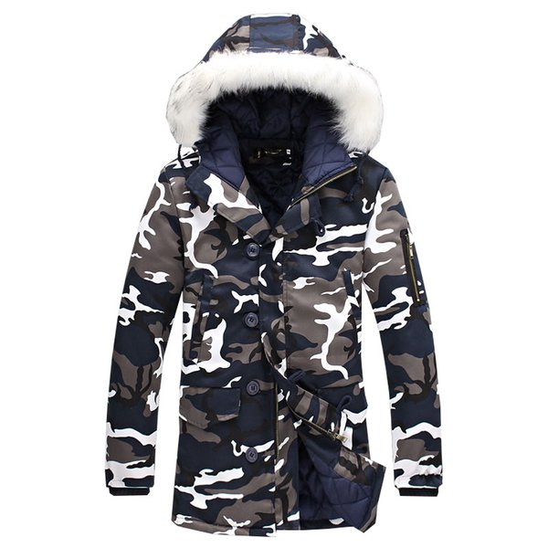 Men Cotton-Padded Winter Jackets Parkas Men's Casual Fashion Slim Fit Hooded Long Fur Collar Camouflage Warm Jackets&Coats