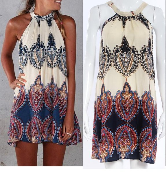 New 2017 Summer Womens Ethnic Floral boho dress Swimwear Beachwear Bikini Beach Wear Cover Up Kaftan Summer Boho Dress