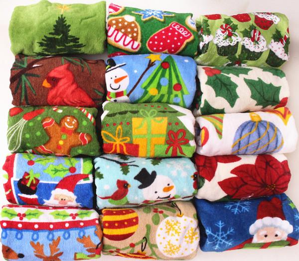 DHL Free Mix Serviette De Noël Père Noël Arbre De Noël Coton Main Serviette Pile Coupé Imprimé rectangle Visage Cheveux Serviettes De Bain Cadeau De Noël
