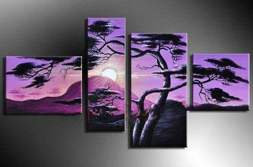 Framed 4 panels African sunset pine Scenery,Pure Hand Painted Modern Wall Decor Landscape Art Oil Painting On Canvas.customized size DHjo