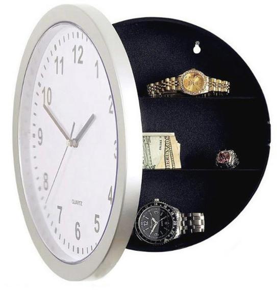 top popular 2017 New Wall Clock Hidden Secret Compartment Safe Money Stash Jewellery Stuff Storage White 10-inch Free Shipping 2020