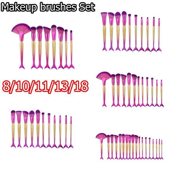8/10/11/13pcs Mermaid Makeup Brushes Sets for Foundation Powder Contour Fish Scales Multipurpose Beauty Rainbow Cosmetic Make Up Brush Kits