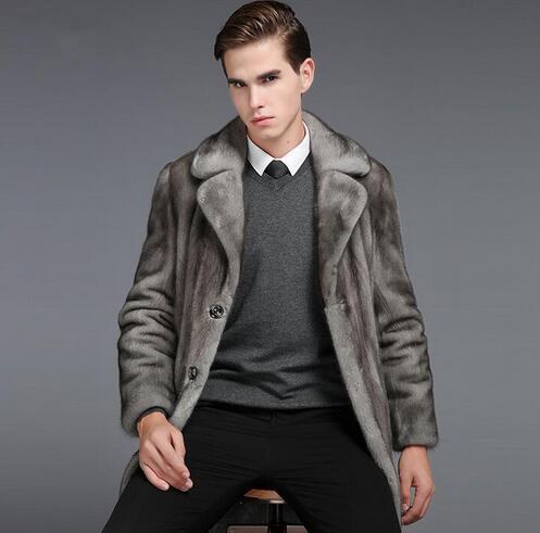 nachahmung pelzmäntel herren trench einreiher herren pelzmantel 2018 neue männer pelzkragen jaqueta de couro masculino grau