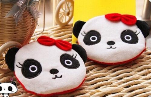 Al por mayor-Bowknot Panda Plush Cotton 10CM Monedero de bolsillo Monedero cartera bolsa BOLSA; Bolso del bolso de la cartera de maquillaje de la bolsa de señora de los bolsos de la señora de las mujeres