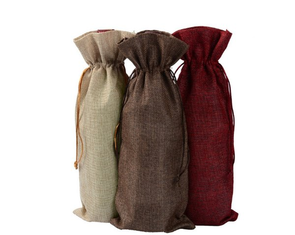 Jute wine, champagne bottles, bags, gift bags, gunny bags, wedding decorations, free delivery A linen bottle, a coffee salad line, a red win