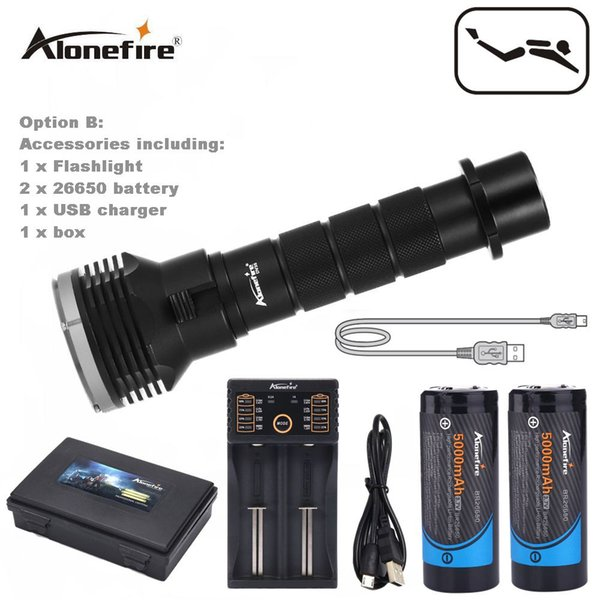 AloneFire DV35 diving underwater 26650 flashlight 5 x cree XM-L L2 LED 18650 dive torch light waterproof brightness Lamp led Lantern