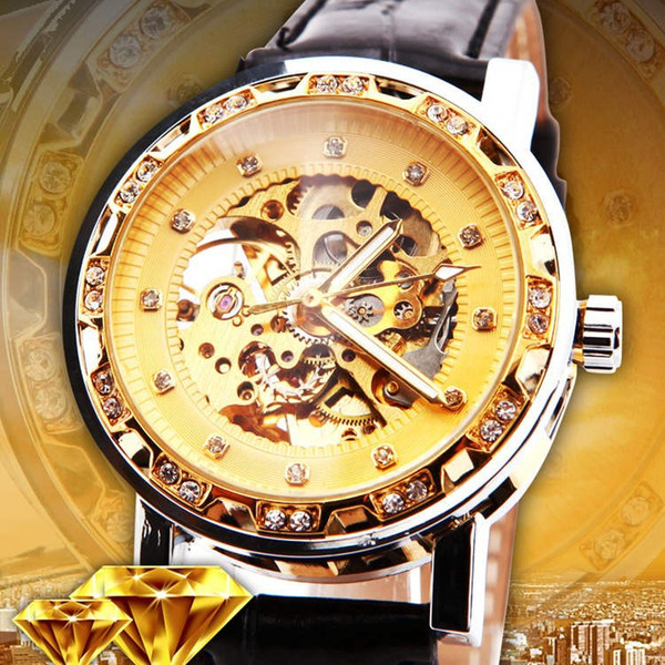 Relogio Masculino ganador Royal Diamond Design Black Gold Reloj Montre Homme Women Watches Brand Luxury Skeleton Mechanical Watch