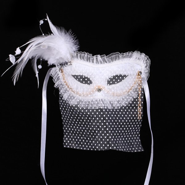 Venetian Veil Mask with feather for Hawlloween Cosplay Party Half Face Eye White Color Princess Masks 17*25cm