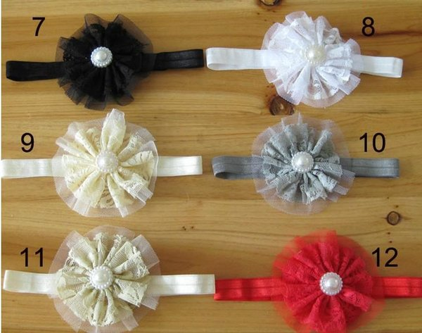 2017 Hot Sale Hair Accessories For Infant Baby Lace Big Flower Pearl Princess Babies Girl Hair Band Headband Baby's Head Band Kids Hairwear