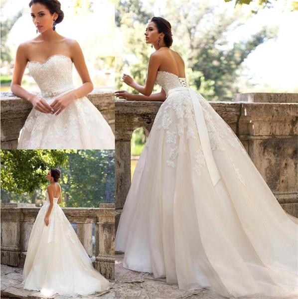 top popular Sweetheart with Beads A Line Court Train Champagne Wedding Dresses Romantic Bridal Gowns Milla Nova Vintage Lace Vestido De Novia 2021