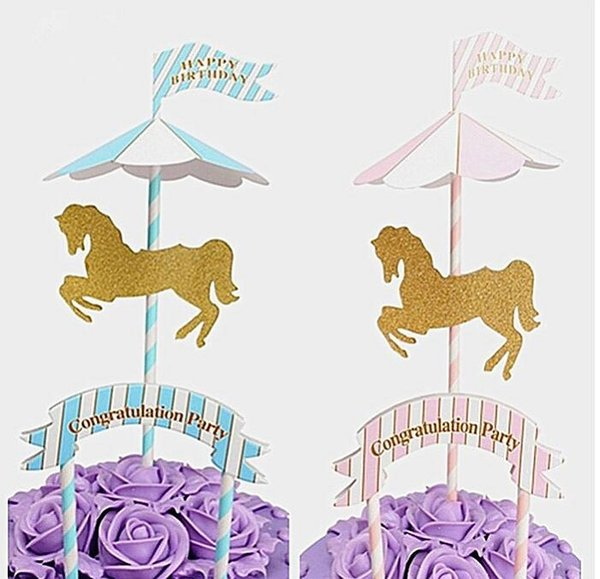 cake toppers paper banner Merry-Go-Round for Cupcake Wrapper Baking Cup birthday tea party decoration baby shower