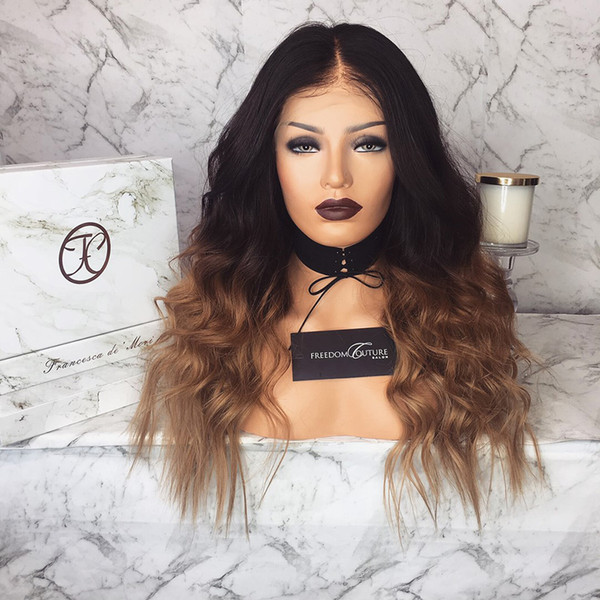 Lace Front Human Hair Wig Ombre Color Wavy 360 Lace Wig Pre-plucked Hairline Brazilian Virgin Hair With Baby Hair Full Lace Wig Wave