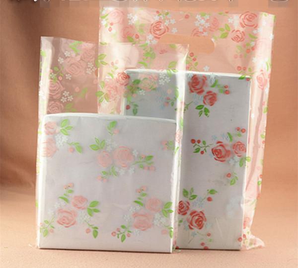 Wholesale 100pcs 20*28cm Rose Floral flower transparent gift bags small Jewelry bag wholesale little size Clear Plastic bag Lady Bags