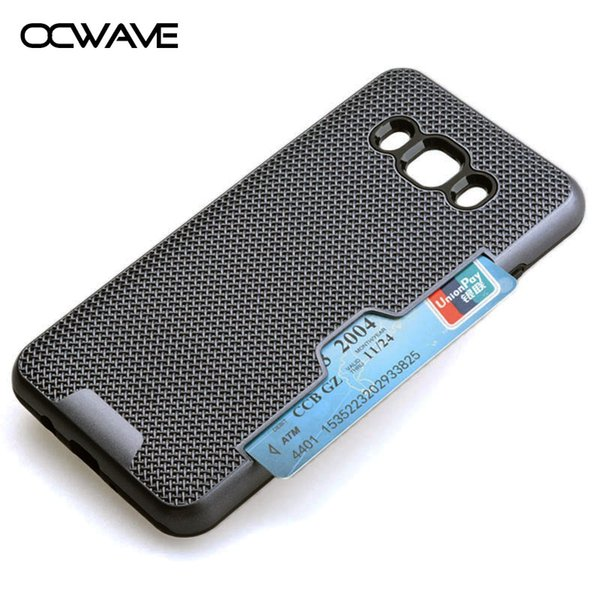 OCWAVE Shockproof Case for Samsung Galaxy J5 2016 Card holder Dual Layer Plastic+Silicone 2in1 material business style