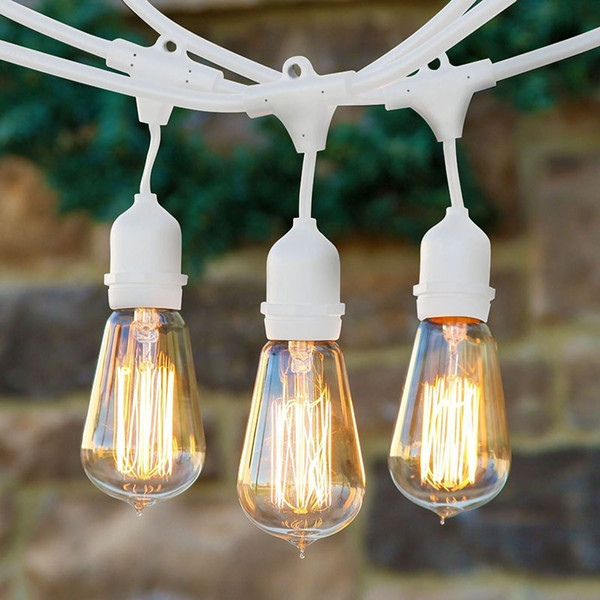 Hot deals Bulbs string Outdoor decoration lamp Weatherproof Commercial-Grade Light Set,48Watts, 25-Ft-12bulbs festive noble and Happy party