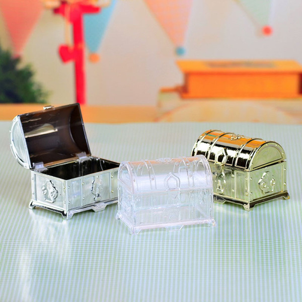200pcs Retro Treasure Chest Favor Box Plastic Transparent Gold Silver Candy Boxes Chocolate Gift Boxes For Party Guest ZA3410