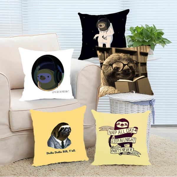 Al por mayor-Funda de Almohada Divertido Perezoso Libros de Lectura Hogar Decorativo Throw Pillow Covers Zippered Square Twin Sides Printing Pillowslip Pillow