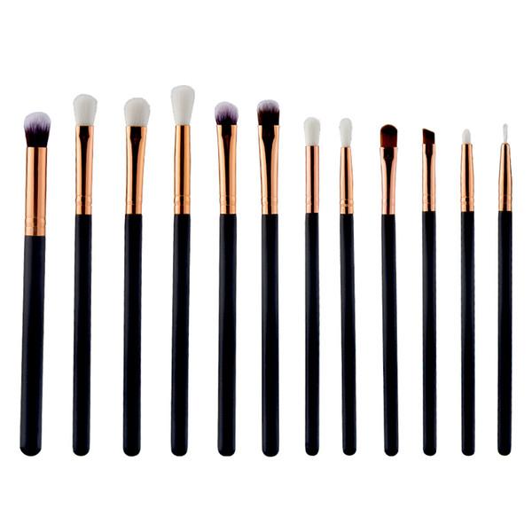 Wholesale- High quality 12 Pcs Eyeshadow Eyeliner Brush Blending Pencil Foundation Eye shadow Makeup Brushes Pink Black Brushes