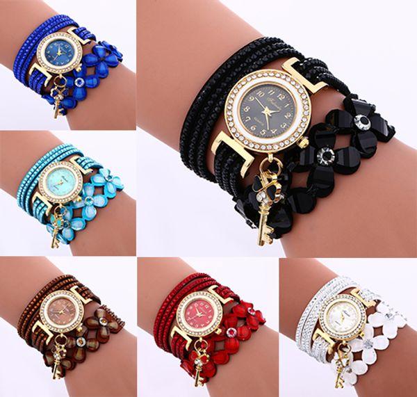2017 New fashion women's diamond with Key pendant watch popular leather strap with Flower watchband bracelet watch Fashion Jewelry Hot sale