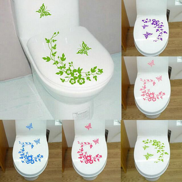 Wall Stickers Butterfly Flower Vine Decorative Affixed To Toilet Walls Water Proof Toilets Paste Home Decor Fashion Decal 3 2gf F R