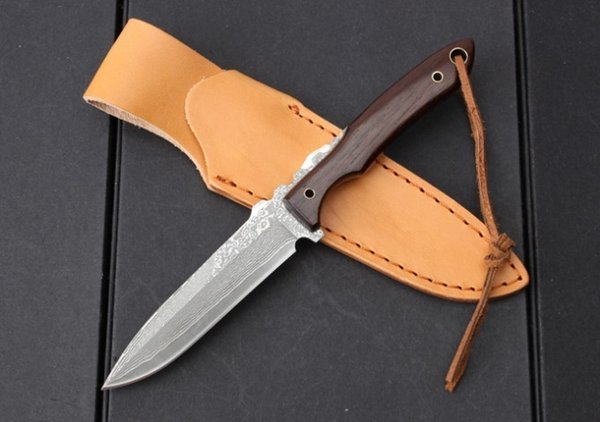 Top Quality Damascus Survival Straight Knife Wood Handle Outdoor Camping Hiking Hunting Fishing Fixed Blade Knives With Leather Sheath