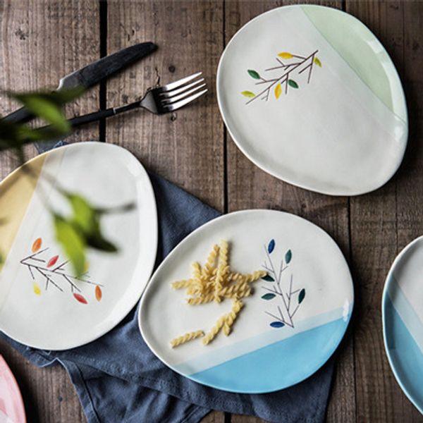 Flores bonitos waterdrop forma pratos de comida para o alimento placa de jantar conjunto de 4 pcs 20 cm (7.5 polegadas) HWD95