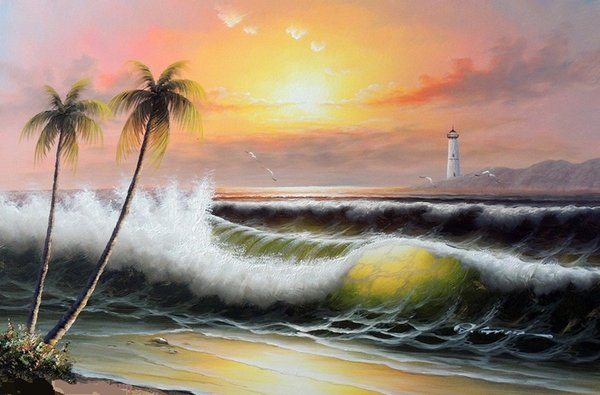 Framed Beach Surf Lighthouse Orange Sunset Island Palms,Pure Hand-painted Seascape Art Oil painting On Canvas,Multi sizes,Free Shipping J029