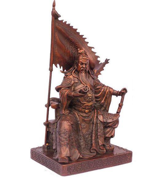 Dragão de bronze chinês Dragão Guerreiro Guan Gong / Yu bandeira de batalha Estátua 11