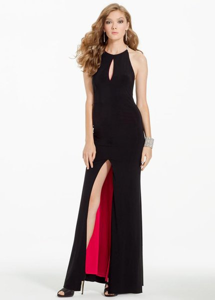 Hot 2017 Sexy Black Evening Dresses With Split Halter Neck Criss Cross Back Bead Evening Gowns With Keyhole Cheap Prom Dresses Party Evening