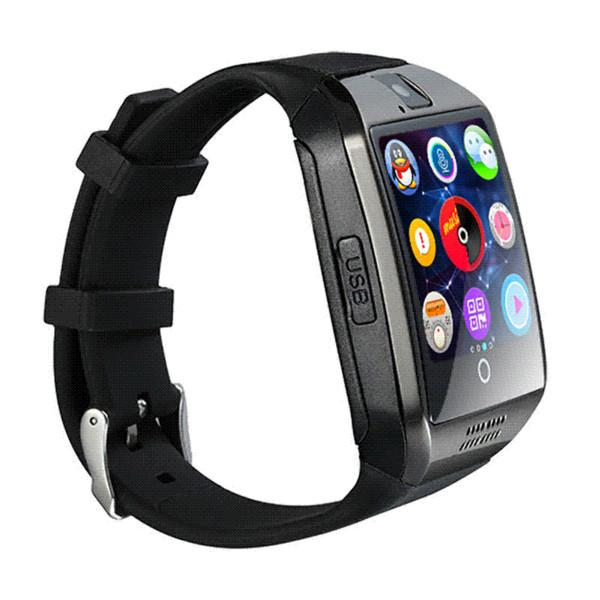 Orijinal Q18 Akıllı İzle Bluetooth Smartwatches SIM ve SD Kart Beyaz Siyah Gümüş Akıllı Cihaz Giyilebilir Elektronik