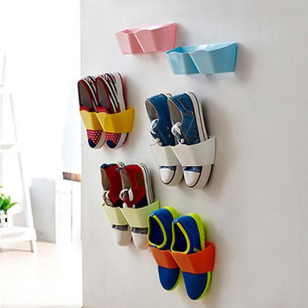 2017 Mensola per scarpe in plastica a parete Mensola per autoadesivi a parete per appendere la parete del bagno
