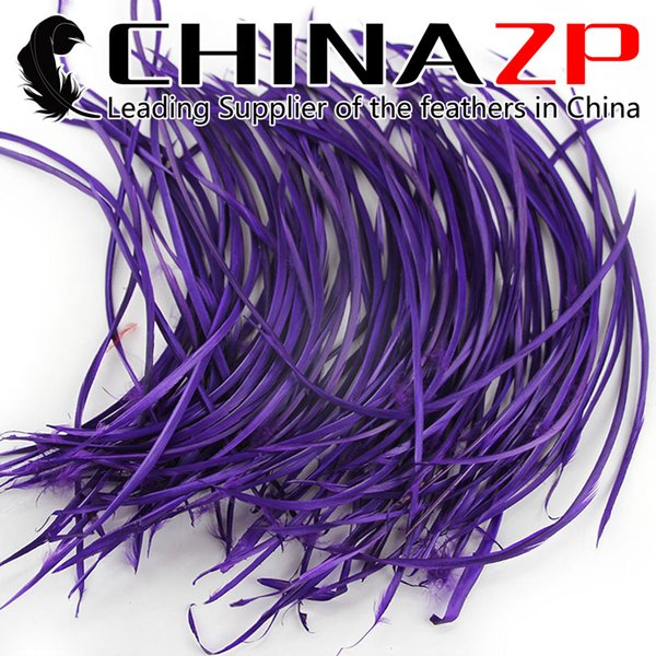 Gold Manufacturer CHINAZP Crafts Factory Cheap Wholesale 15~20cm(6~8inch) Top Quality Dyed Blue Purple Long Goose Biots Feathers