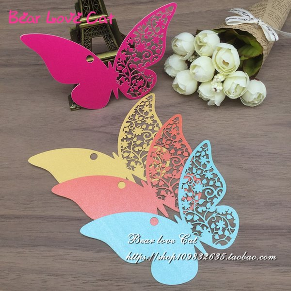 50PCS DIY Message Cards Laser Cut Name Place Card Paper Card Table Mark Hang Tag Card Wedding Favors Party Decoration butterfly Book Mark