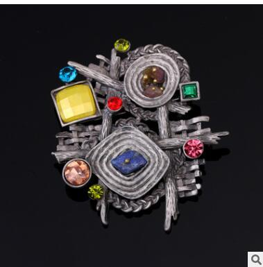 Fashional retro high-end natural stone brooch, half treasure geometric special-shaped Brooch