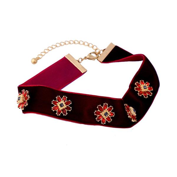 2017 New Fashion Jewelry For women Flower shaped Artificial red Gem Stone Velvet Choker Cheap Jewelry Retro vintage Choker Wholesale NCIE