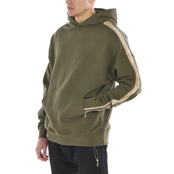 Zipper Sleeve Hoodies Sweatshirts Men 2017 Solid Color Hoody Male Hip Hop Swag Tracksuit Streetwear Green Khaki Black