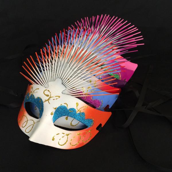 Womens Girls Classic Halloween Venetian Dancing Queen Glitter Painted Fan Mask Masquerade Mask Taglia unica La maggior parte dei colori assortiti