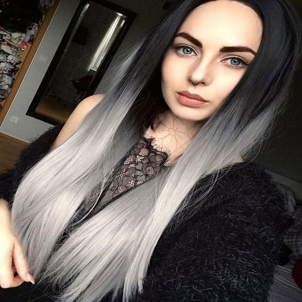 Fashion Silky Straight Ombre Grey Synthetic Lace Front Wig Glueless Long Natural Black Ombre Silver Gray Heat Resistant Hair Woman Wigs