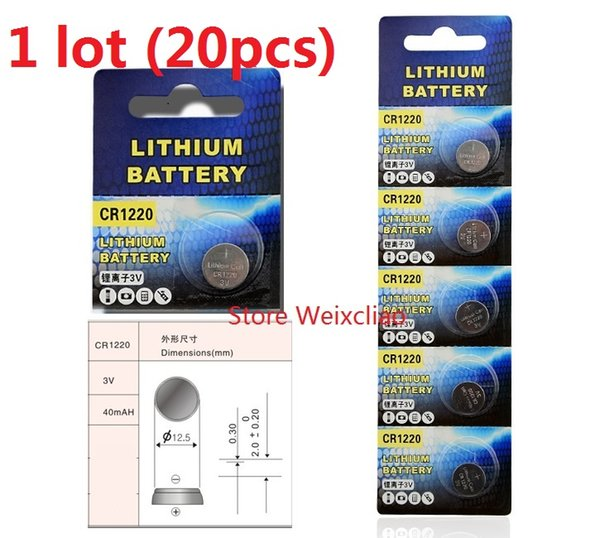 20pcs 1 lot CR1220 3V lithium li ion button cell battery CR 1220 3 Volt li-ion coin batteries Free Shipping