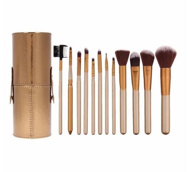 Nuevos pinceles de maquillaje profesional Gold Set de 12 pcs con estuche para portavasos de cuero Kit suave para el cabello