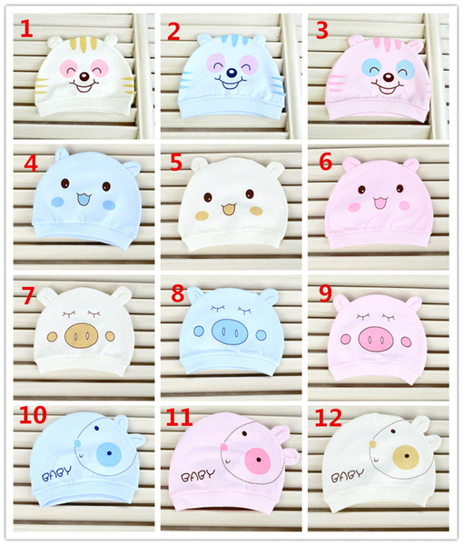 Ins Infant 100% Cotton Caps Baby Cotton hats Cartoon Animals Printed hats Soft Fabric Beanie for Newborn babies 4 colors DHL FREE