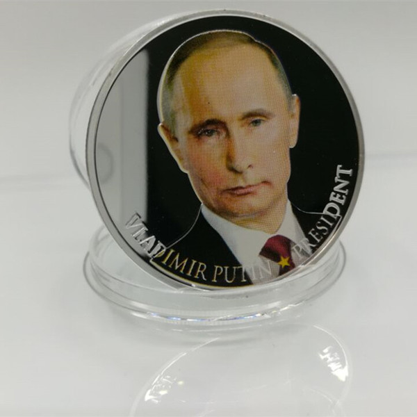 50 pcs Non magnetic Brand new vladimir putin the president of Russia silver Plated 40 mm x 3 mm Russian souvenir decoration coin